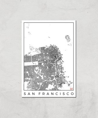 Affiche Carte de San Francisco (Noir et Blanc) - A4 - Print Only chez Casa Décoration