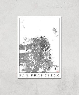 Affiche Carte de San Francisco (Noir et Blanc) - A3 - Print Only chez Casa Décoration