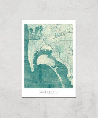 Affiche Carte de San Diego (Couleur) - A3 - Print Only chez Casa Décoration