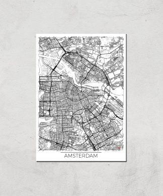 Affiche Carte d'Amsterdam (Noir et Blanc) - A4 - Print Only chez Casa Décoration