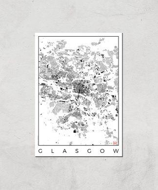 Affiche Carte de Glasgow (Noir et Blanc) - A3 - Print Only chez Casa Décoration