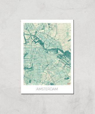 Affiche Carte d'Amsterdam (Couleur) - A4 - Print Only chez Casa Décoration
