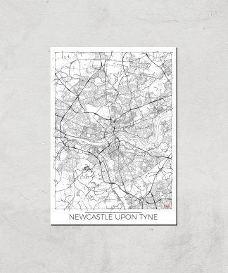 Affiche Carte de Newcastle (Noir et Blanc) - A4 - Print Only chez Casa Décoration