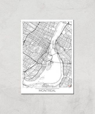 Affiche Carte de Montréal (Noir et Blanc) - A4 - Print Only chez Casa Décoration