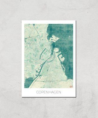 Affiche Carte de Copenhague (Couleur) - A4 - Print Only chez Casa Décoration