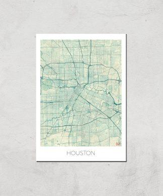 Affiche Carte de Houston (Couleur) - A4 - Print Only chez Casa Décoration