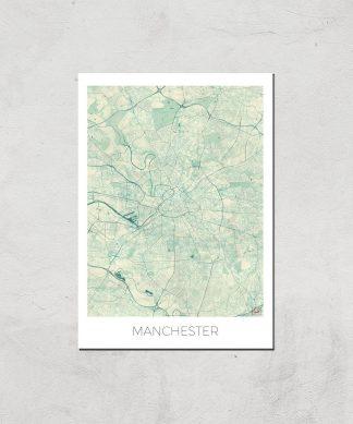 Affiche Carte de Manchester (Couleur) - A3 - Print Only chez Casa Décoration