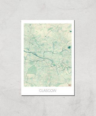 Affiche Carte de Glasgow (Couleur) - A3 - Print Only chez Casa Décoration