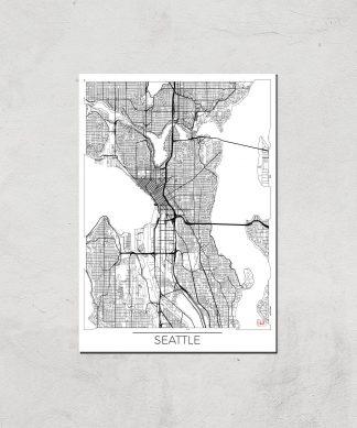 Affiche Carte de Seattle (Noir et Blanc) - A3 - Print Only chez Casa Décoration