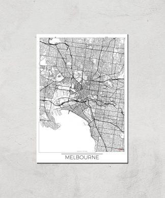 Affiche Carte de Melbourne (Noir et Blanc) - A4 - Print Only chez Casa Décoration
