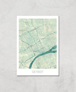 Affiche Carte de Detroit (Couleur) - A4 - Print Only chez Casa Décoration