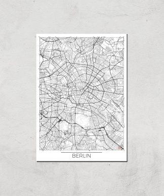 Affiche Carte de Berlin (Noir et Blanc) - A4 - Print Only chez Casa Décoration