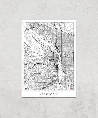 Affiche Carte de Portland (Noir et Blanc) - A4 - Print Only chez Casa Décoration