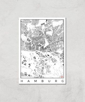 Affiche Carte de Hambourg (Noir et Blanc) - A3 - Print Only chez Casa Décoration
