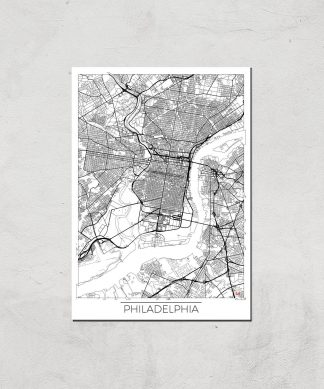 Affiche Carte de Philadelphia (Noir et Blanc) - A4 - Print Only chez Casa Décoration