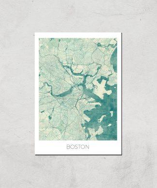 Affiche Carte de Boston (Couleur) - A4 - Print Only chez Casa Décoration