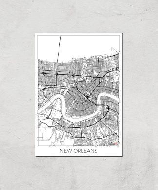 Affiche Carte de New Orléans (Noir et Blanc) - A4 - Print Only chez Casa Décoration