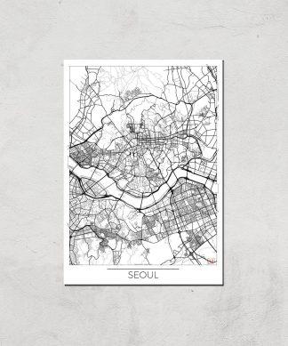 Affiche Carte de Seoul (Noir et Blanc) - A3 - Print Only chez Casa Décoration