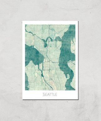 Affiche Carte de Seattle (Couleur) - A4 - Print Only chez Casa Décoration