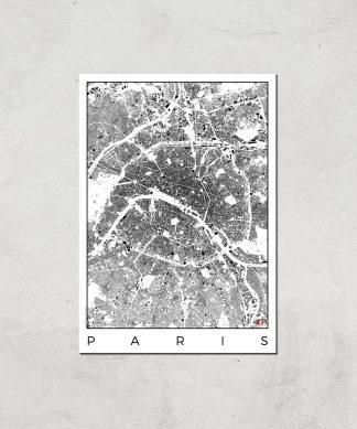 Affiche Carte de Paris (Noir et Blanc) - A3 - Print Only chez Casa Décoration