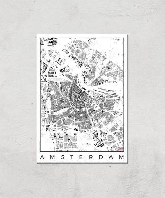 Affiche Carte d'Amsterdam (Noir et Blanc) - A3 - Print Only chez Casa Décoration