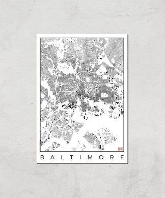 Affiche Carte de Baltimore (Noir et Blanc) - A4 - Print Only chez Casa Décoration