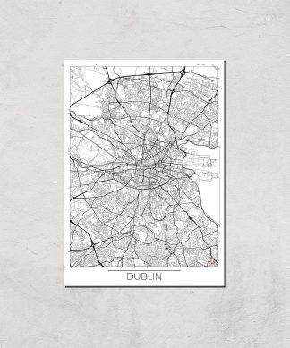 Affiche Carte de Dublin (Noir et Blanc) - A3 - Print Only chez Casa Décoration