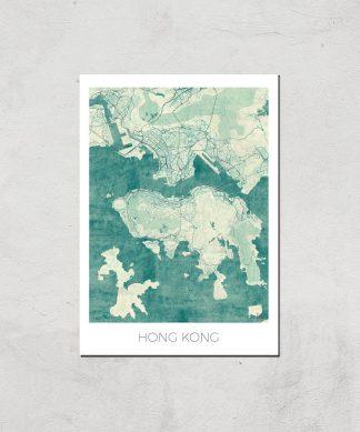 Affiche Carte de Hong Kong (Couleur) - A3 - Print Only chez Casa Décoration