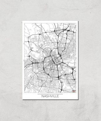 Affiche Carte de Nashville (Noir et Blanc) - A4 - Print Only chez Casa Décoration