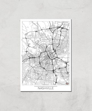Affiche Carte de Nashville (Noir et Blanc) - A3 - Print Only chez Casa Décoration