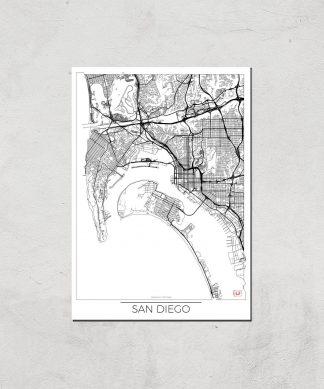 Affiche Carte de San Diego (Noir et Blanc) - A4 - Print Only chez Casa Décoration