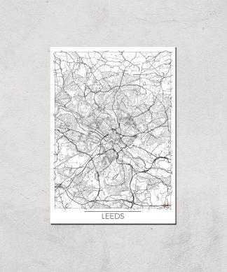 Affiche Carte de Leeds (Noir et Blanc) - A3 - Print Only chez Casa Décoration