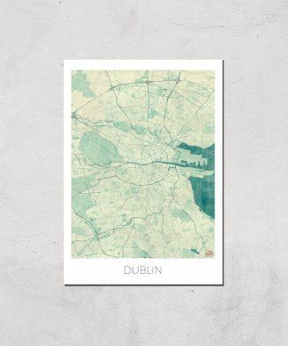 Affiche Carte de Dublin (Couleur) - A3 - Print Only chez Casa Décoration