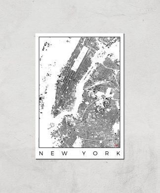 Affiche Carte de New York (Noir et Blanc) - A3 - Print Only chez Casa Décoration