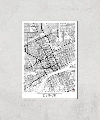 Affiche Carte de Detroit (Noir et Blanc) - A4 - Print Only chez Casa Décoration