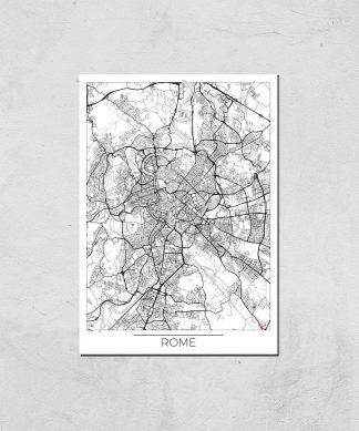 Affiche Carte de Rome (Noir et Blanc) - A3 - Print Only chez Casa Décoration