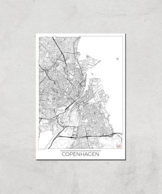 Affiche Carte de Copenhague (Noir et Blanc) - A4 - Print Only chez Casa Décoration