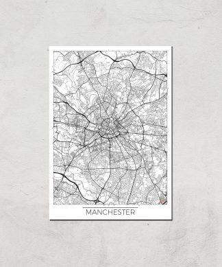 Affiche Carte de Manchester (Noir et Blanc) - A3 - Print Only chez Casa Décoration
