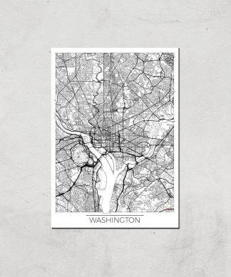 Affiche Carte de Washington (Noir et Blanc) - A3 - Print Only chez Casa Décoration