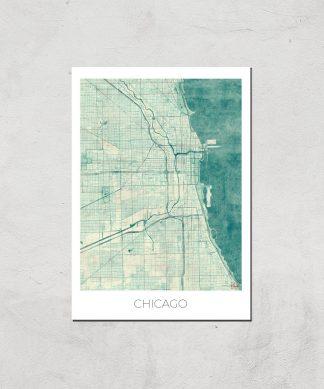 Affiche Carte de Chicago (Couleur) - A3 - Print Only chez Casa Décoration