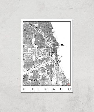 Affiche Carte de Chicago (Noir et Blanc) - A3 - Print Only chez Casa Décoration