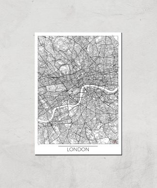 Affiche Carte de Londres (Noir et Blanc) - A3 - Print Only chez Casa Décoration