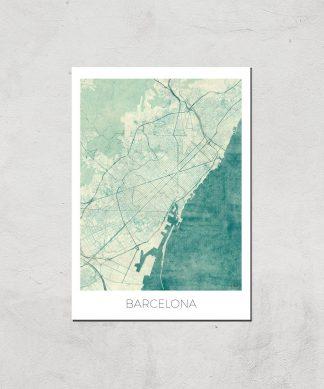 Affiche Carte de Barcelone (Couleur) - A3 - Print Only chez Casa Décoration