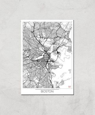 Affiche Carte de Boston (Noir et Blanc) - A3 - Print Only chez Casa Décoration