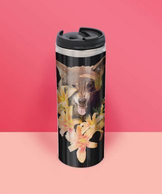 Wolfish Flowers Thermo Insulated Travel Mug chez Casa Décoration