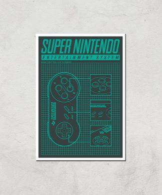 Nintendo SNES Controller Art Print - A4 - Print Only chez Casa Décoration