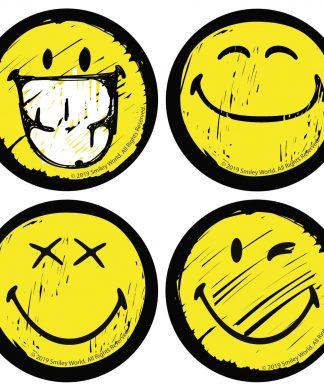 Multi Smiley Face Coaster Set chez Casa Décoration
