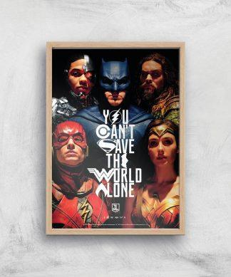 DC Justice League Giclee Art Print - A4 - Wooden Frame chez Casa Décoration
