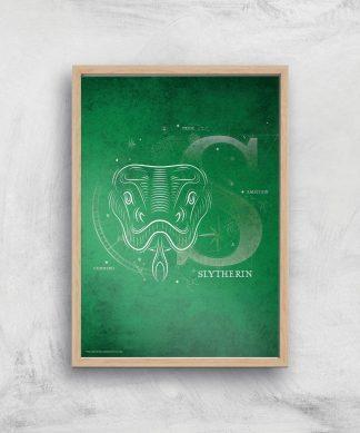 Harry Potter Slytherin Giclee Art Print - A4 - Wooden Frame chez Casa Décoration
