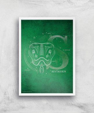 Harry Potter Slytherin Giclee Art Print - A4 - White Frame chez Casa Décoration